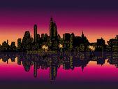 Mirror Purple Night City Palms. — Stock Vector