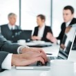Business ambience, working on laptop during the meeting — Stock Photo #10421641
