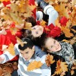Happy group of young friends together in fall park — Stok fotoğraf