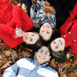 Happy group of young friends together in fall park - Stock Photo