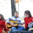 Teenagers friends playing the guitar at autumn park — Stock Photo