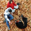 Teenagers friends playing the guitar at autumn park — Stock Photo #13335177