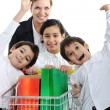 Mother with children in shopping — Stock Photo #13335354