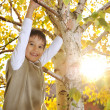 Happy kid in autumn park portrait - Stock Photo