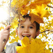Happy kid in autumn park portrait — Stockfoto