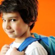 Little school cute boy with backpack — Stockfoto