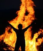 Man on fire — Stock Photo
