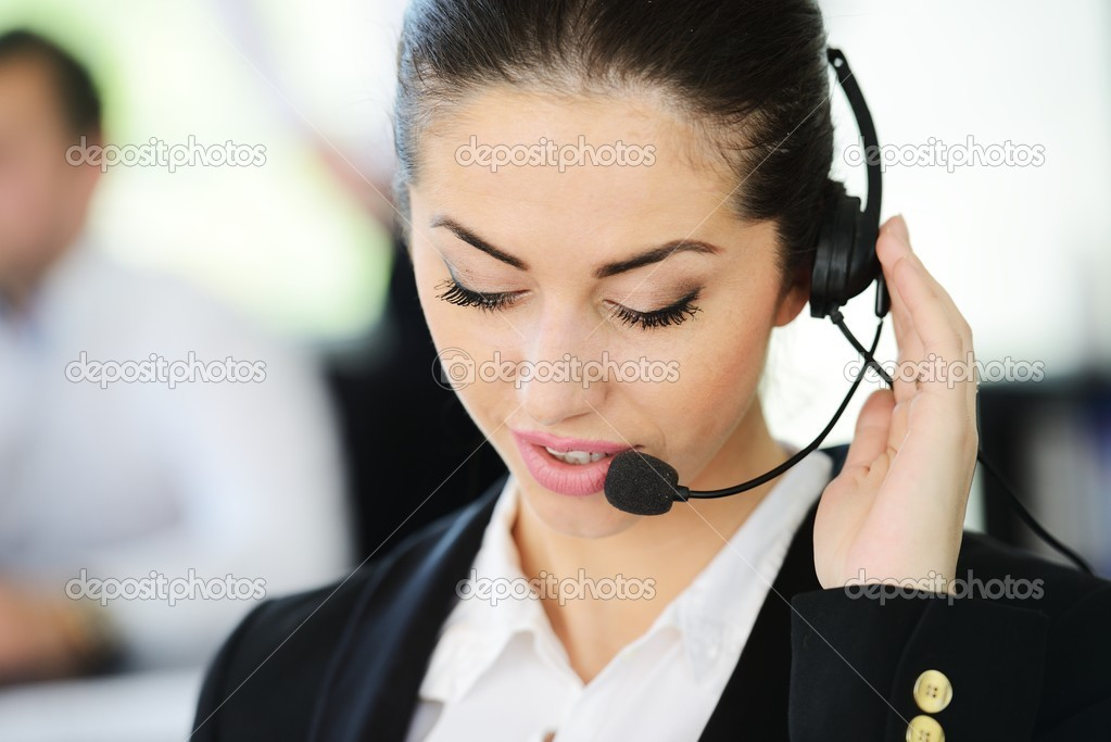Beautiful support girl in calling centre — Stock Photo #13334134