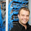 Administrator at server room — Stock Photo