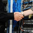 Handshaking at server room, man and woman — Stock Photo #21339463
