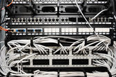 Server panel with cables and connectors — Stock Photo
