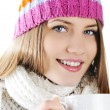 Happy Winter Beautiful Girl drinking hot tea — Stock Photo