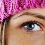 Closeup eye of Happy Winter Beautiful Girl — Stock Photo