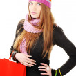 Beautiful winter girl with shopping bags — Stock Photo #21340257