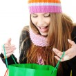 Beautiful winter girl with shopping bags — Stock Photo