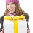 Winter girl with present box, gift — Stockfoto