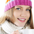 Happy Winter Beautiful Girl drinking hot tea — Photo