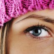 Closeup eye of Happy Winter Beautiful Girl — 图库照片