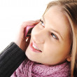 Winter Beautiful Girl speaking on cell phone — Stock Photo