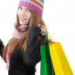 Beautiful winter girl with shopping bags — Stock Photo #21342187