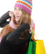 Beautiful winter girl with shopping bags — Stock Photo #21342251