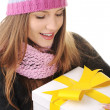 Stock Photo: Winter girl with gift box