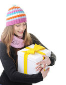 Winter girl with present box, gift — Stock Photo