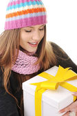 Winter girl with gift box — Stock Photo
