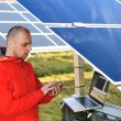 Foto Stock: Engineer working with laptop by solar panels, talking on cell phone