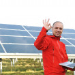 Male engineer using laptop, solar panels in background — Stock Photo