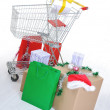 Shopping cart with boxes and bags, happy holidays — Stock Photo #21358319