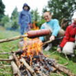 Barbecue in nature, group of preparing sausages on fire (note: selected focus) — Stock Photo #21365887