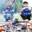 Stock Photo: Barbecue in nature, group of preparing sausages on fire (note: shallow dof)