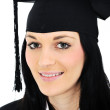 Student girl in an academic gown, graduating and diploma — Stock Photo