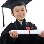 Diploma graduating little student kid, successful elementary school — Stock Photo