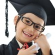 Diploma graduating little student kid, successful elementary school — Stock Photo
