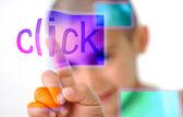 Klick on screen, kid pressing digital button — Stock Photo