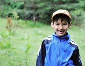 Little scouts in forest discovering nature — Stock Photo