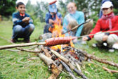Barbecue in nature, group of preparing sausages on fire (note: shallow dof) — Stock Photo