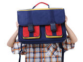 Backpack for school, kid hiding behind — Stock Photo