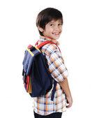 Szkoły dziecko na białym tle uśmiechnięty — Zdjęcie stockowe