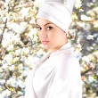 White beautiful geisha — Stock Photo