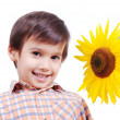 Very cute boy hugging sunflower as friend — Stock Photo