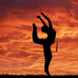 Sport acrobatic girl against fantastic red sky — Stock Photo #21406313