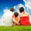 Happy family in nature — Stock Photo