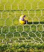 Fake grass soccer field — Stock Photo