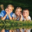 Happy children in nature outdoor  — Stock Photo