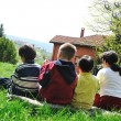 Happy children in nature outdoor — Stok fotoğraf