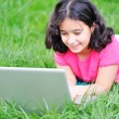 Children activity with laptop in nature — Stock Photo #21414295