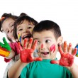 Happy children with colors — Stock Photo #21417701
